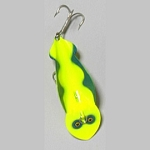 F42-7 Fluorescent - Chartreuse with Blue Scallop
